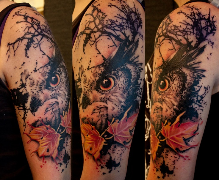 Owl by Jacob Pedersen, Crooked Moon Tattoo