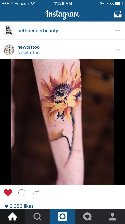 Sunflower watercolor tattoo