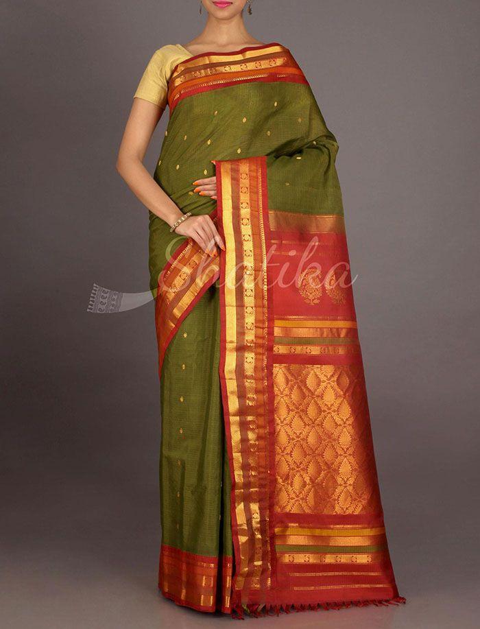 Savitri Stripe Border Ornate Pallu Pure Gadwal Silk Cotton Saree