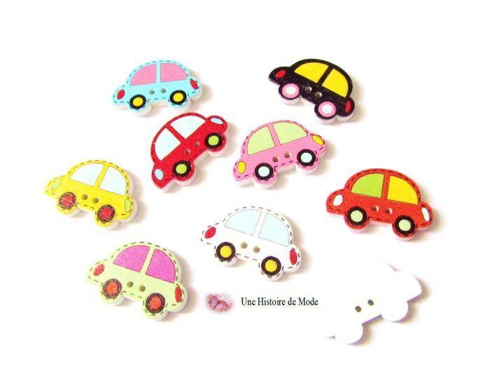 10 boutons voiture en bois couleurs mixtes et aléatoires - scrapbooking - 25 x 17 mm : Boutons par une-histoire-de-mode