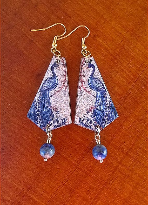 Earrings mosaic peacock