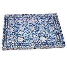 Bandejas de Madeira Azul Flores
