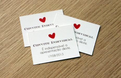 40 unid. - Tag Convite Individual - TCI016 | Confeitaria de Convites