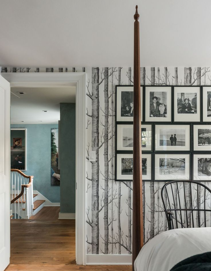 Elegant Aspen Tree wallpaper beckons the outdoors while playing off sharp architectural lines, and subtle interior design finishings.
