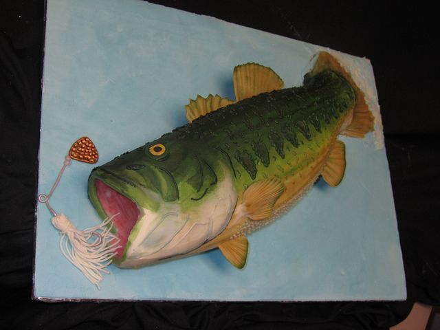 Bass Fish Cake by Sarah Miller at Classic Cakes in Carmel, IN - Only the fins and the lure are fondant. The rest of the fish is buttercream.