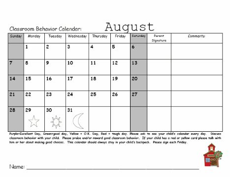 Camp Kindergarten: 2011-2012 Monthly Behavior Calendars!