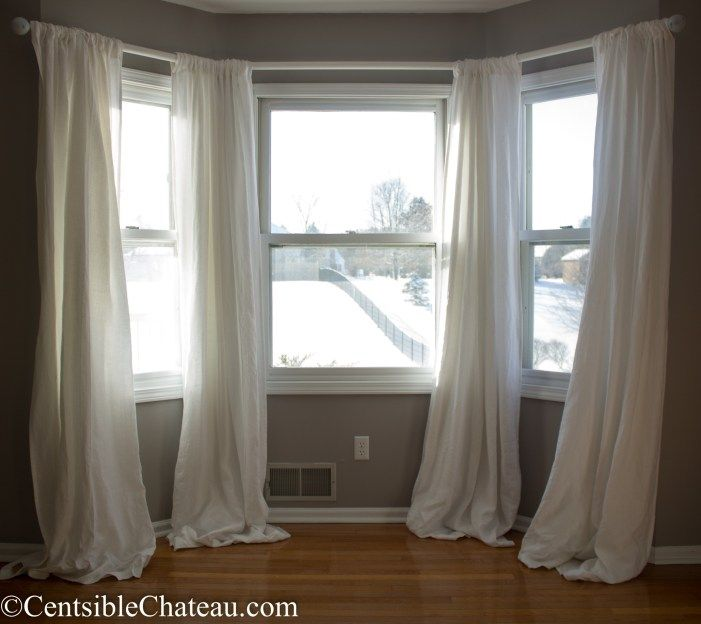 How To Make A Simple Gorgeous Bay Window Curtain Rod From Cheap Dowels Bay Window Curtains Bay Window Curtain Rod Window Curtains Living Room #window #treatments #for #bay #window #in #living #room
