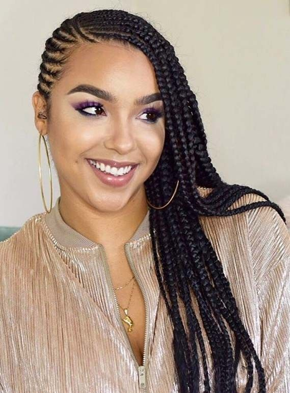 Side Swept Feed In Braids Natural Hair Styles Cornrow Hairstyles Braid Styles