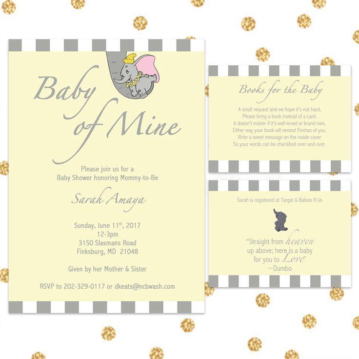 Dumbo Baby Shower Invitation Bundle, Digital Invite, Yellow, 5x7, Customizable by SweetToChic on Etsy https://www.etsy.com/listing/528007599/dumbo-baby-shower-invitation-bundle