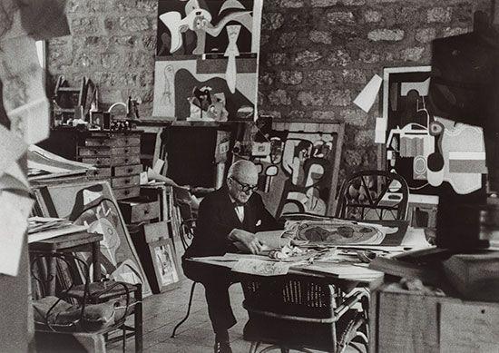 Le Corbusier, in his studio, Paris,1961.