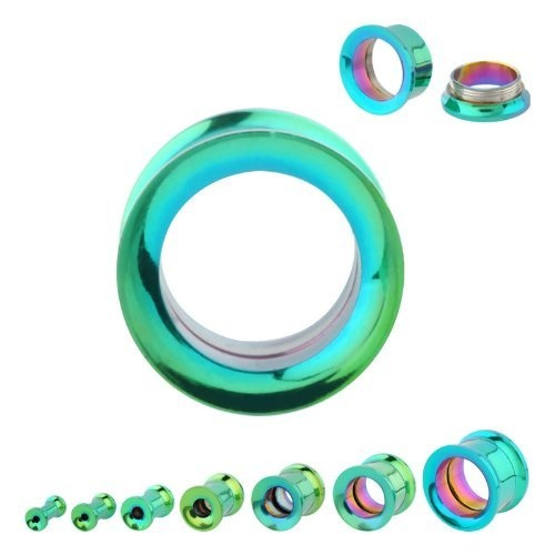 0g Surgical Steel Titanium Plated Green Double Flare Screw Fit Plugs