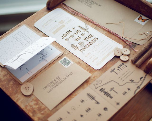 Beautiful wedding invitation, map and field guide from Wood and Grain.