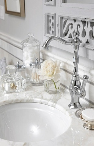 Love this marble countertop and faucet