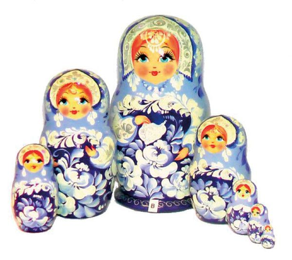 Matryoshka is the most famous symbol of Russia and the most popular Russian souvenir all around the World. It is a set of wooden dolls nested into each other. The painted image on them is most often a woman wearing traditional Russian costume decorated with flowers and patterns.