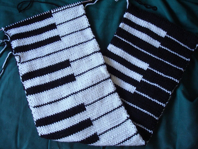 Double knit piano scarf Maybe one with music notes hmmm