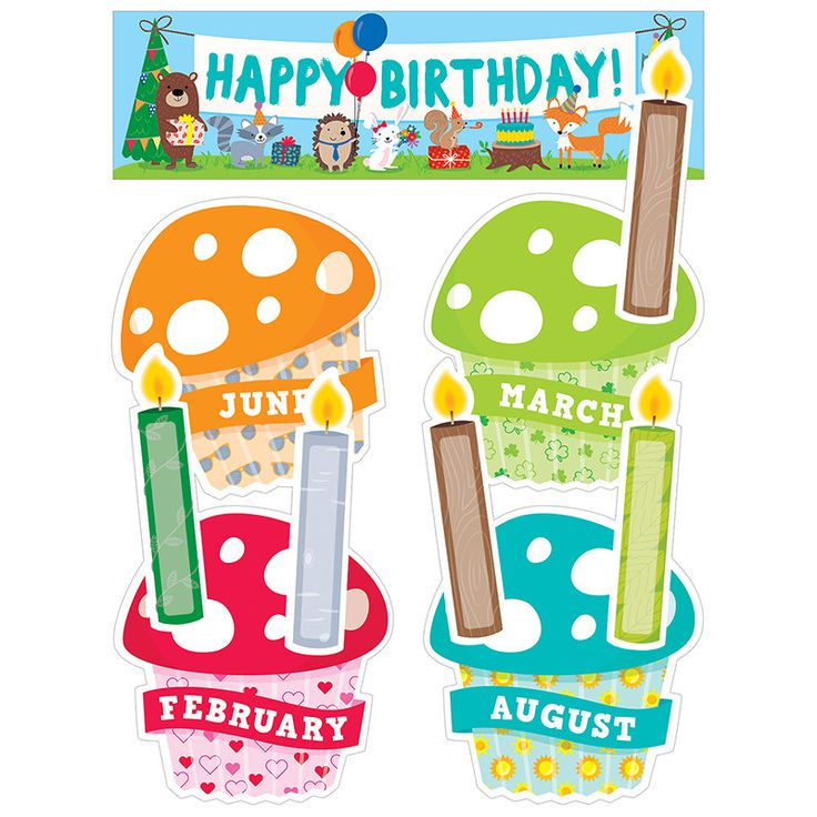 """Charming toadstools give this Woodland Friends Birthday mini bulletin board a whimsical look. The seasonal toadstool """"cupcakes"""" and woodland-themed candles can be displayed atop the cute tree stump de"""