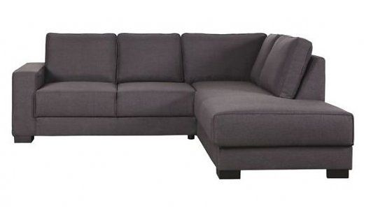 LEF collections Bank 'Tijmen' lounge rechts warm grijs textiel 80X 243 X 91/199cm