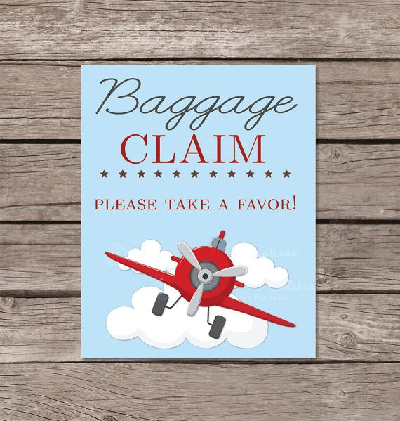 Airplane birthday baggage claim party favor sign printable (8x10 digital file)