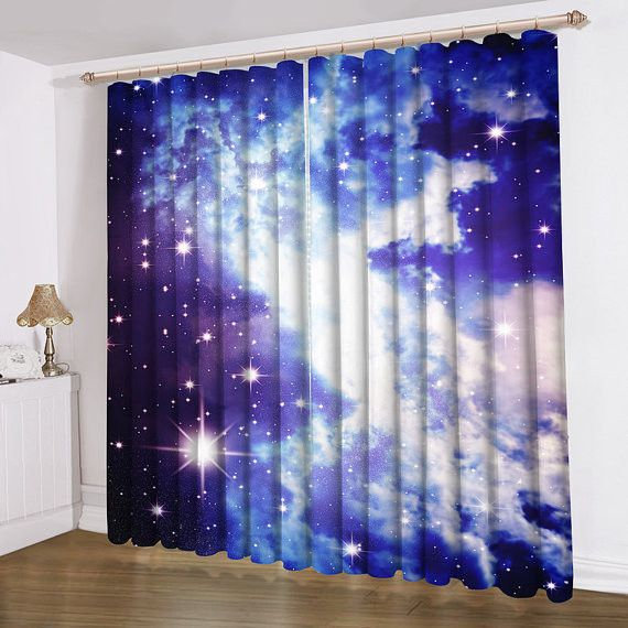 Galaxy Curtain New Printing Satin Blue Galaxy Curtain Galaxy Room Pinterest Satin