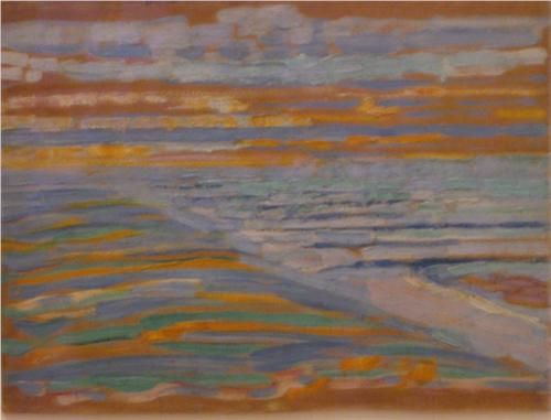View from the Dunes with Beach and Piers - Piet Mondrian, 1909 During the time this painting was created, Mondrian began developing his philosophical ideas on theosophy and anthroposophy, two spiritual movements which allowed Mondrian to see painting as a search for spiritual knowledge within oneself. Although his earlier works depicted dim figures or abstracted colors, his search for spiritual enlightenment within and throughout his paintings was to lead through a pathway of more abstract…
