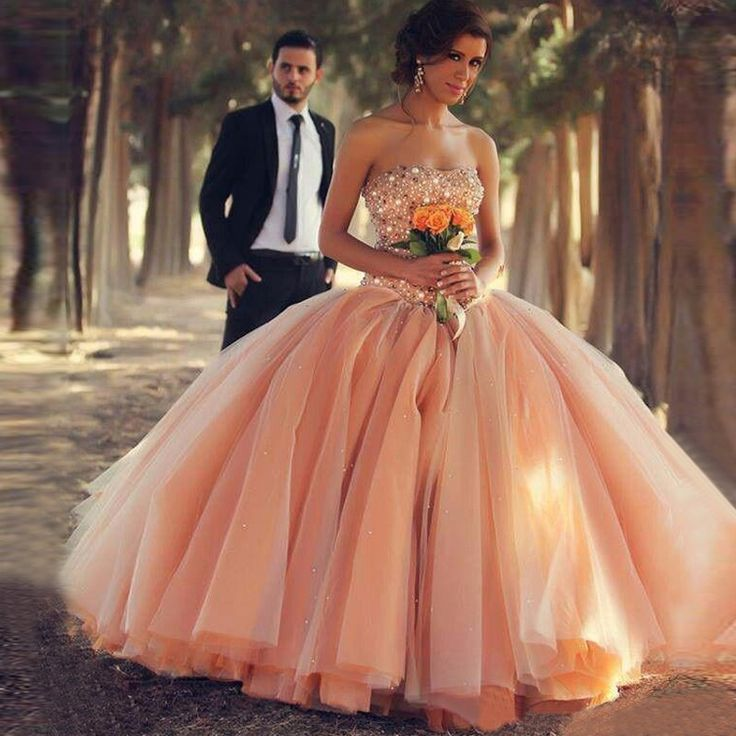 Bling Bling Crystal Rhinestone Coral Long Prom Dresses 2017 Puffy Skirt Fairy Ball Gown Customized Prom Gowns Robe De Soiree