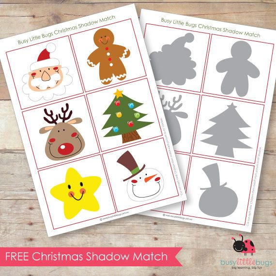FREE PRINTABLE CHRISTMAS MATCHING GAME (via http://www.busylittlebugs.com.au/freebie-friday-christmas-shadow-match/)