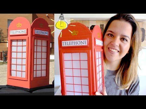 DIY Cabina Telefónica Londres!! LÁMPARA DE CARTÓN!!- Mery - YouTube