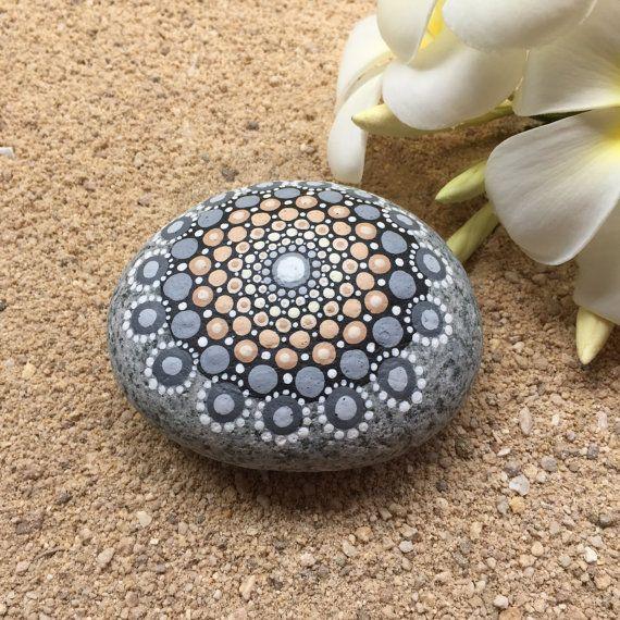 RESERVED Neutral Beauty, Tan, Cream, and Gray Dot Painted Stone, Original Hand Painted Rock Art, Mandala Design, Mandala Stone