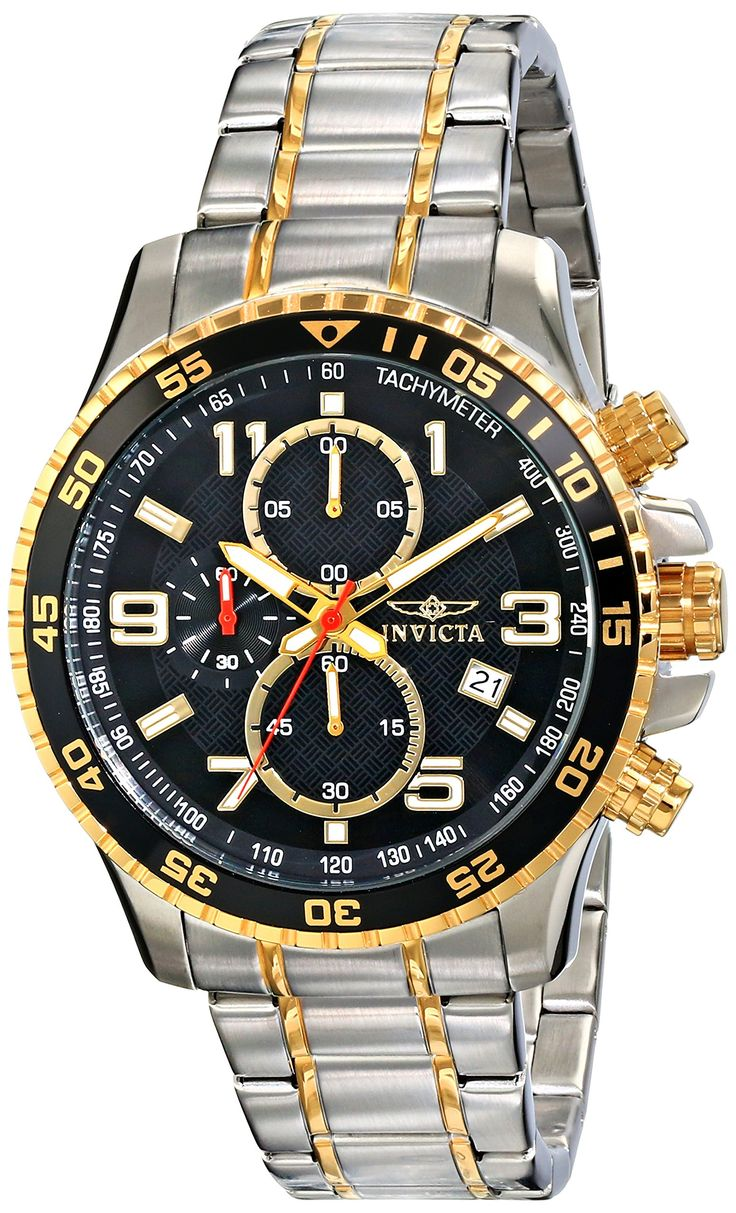 FREE SHIPPING Invicta Men's 14876 Specialty Chronograph 18k Gold Ion-Plated and Stainless Steel Watch: Invicta: Watches: