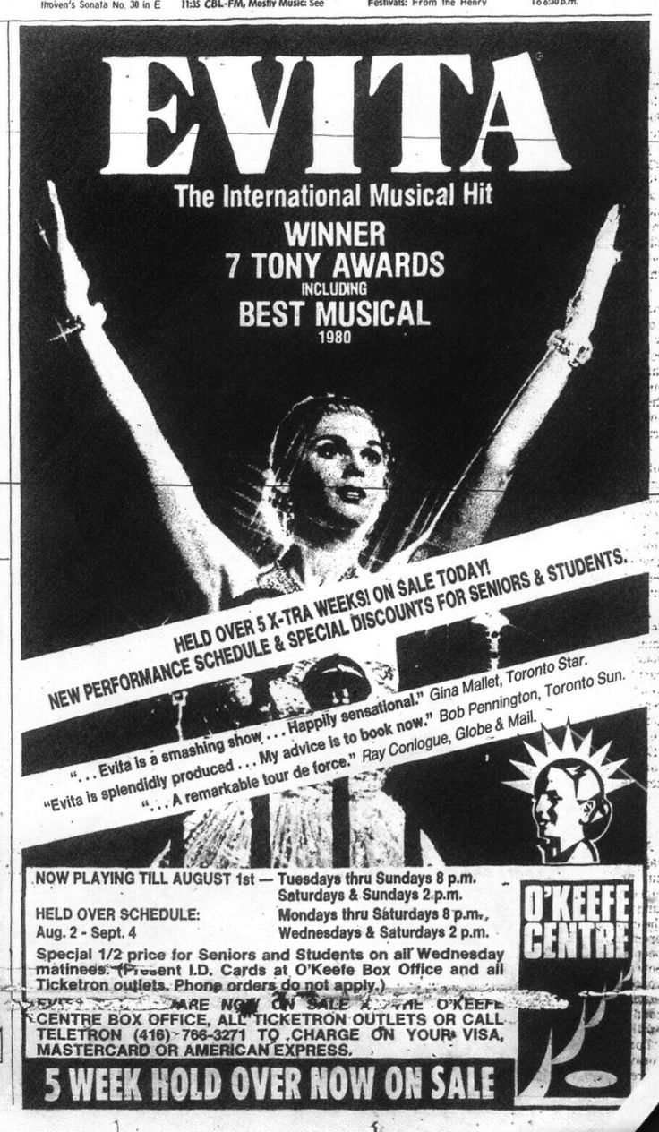 """Promotional Ad for the Premiere Toronto Production of the Andrew Lloyd Webber / Tim Rice musical """"Evita"""" -- this was the same company that started in Chicago two years previous.  Valerie Perri, who performed the starring role since the Chicago Premiere, left the show following the production's departure from what's now called Toronto's Sony Centre for the Performing Arts."""