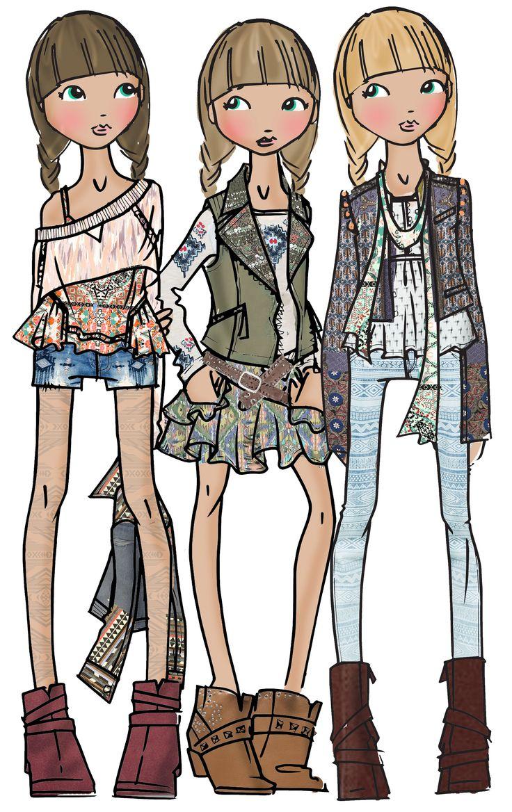 Teen Girls Fashion Illustration