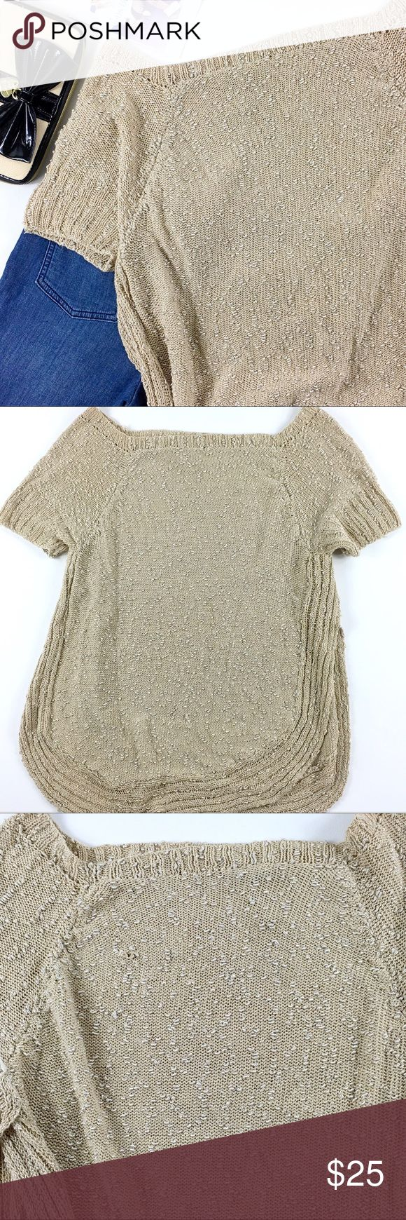 Eugenia Gayoso Gold Textured Boatneck Knit Top Eugenia Gayoso Gold Textured square boatneck sweater with split hem. Size large but missing tag. Pre loved in beautiful condition with minor knit flaw on back which is shown in photo and reflected in price. Please see all photos. eugenia gayoso Sweaters