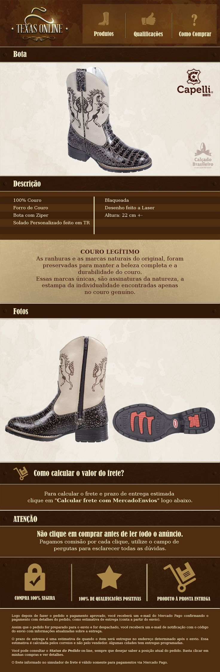 Bota Infantil Country / Rodeo / Western / Texana Capelli - R$ 179,90 no MercadoLivre