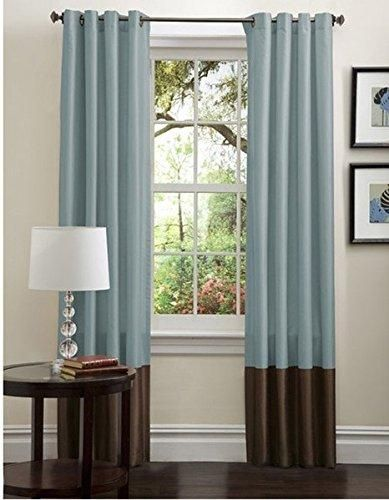 Lush Decor Prima Curtain  Two Panel  54-Inch by 84-Inch Green// Chocolate