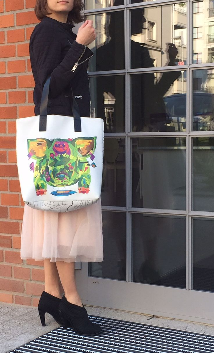 the feeder graphic print tote bag by kulik. shopping bag with black leather handles.