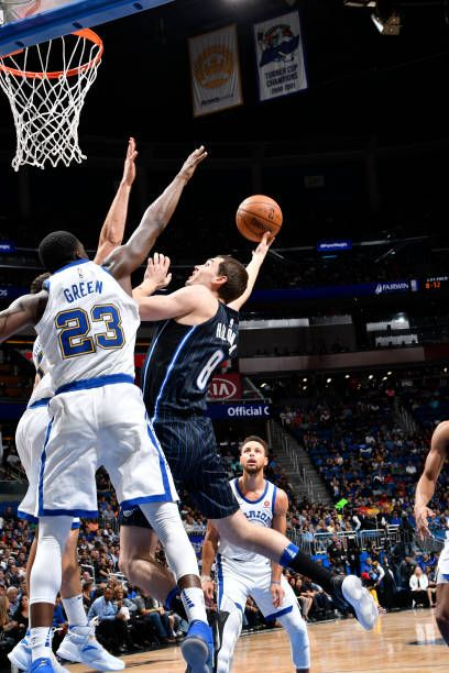 Mario Hezonja of the Orlando Magic shoots the ball against the Golden State Warriors on December 1 2017 at Amway Center in Orlando Florida NOTE TO...