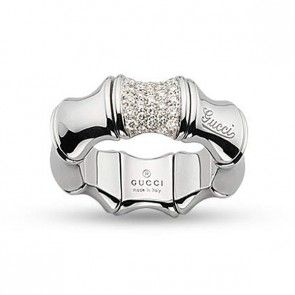 Fancy Gucci Bamboo White Gold u Pave Diamond Ring