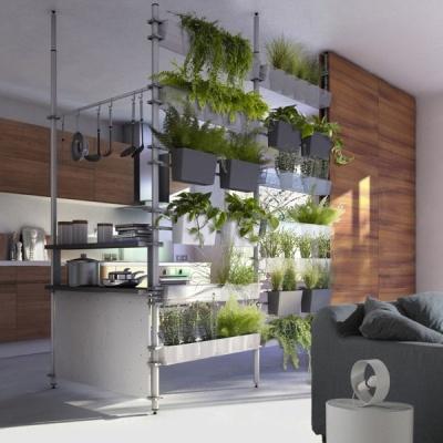 cloison modulaire solutio de castorama - environ 800 euros pour 4m de cloison (pots et étagères compris) / * zijkant?