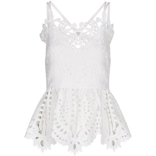 Perseverance London Ivory Guipere Lace Cami Top (£185) ❤ liked on Polyvore featuring tops, white lace tank, white tank top, lace cami top, lace camis and peplum tops