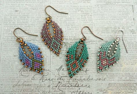 Here are four different sample earrings made from four different design charts. Below is the bead information for each colorway along with...