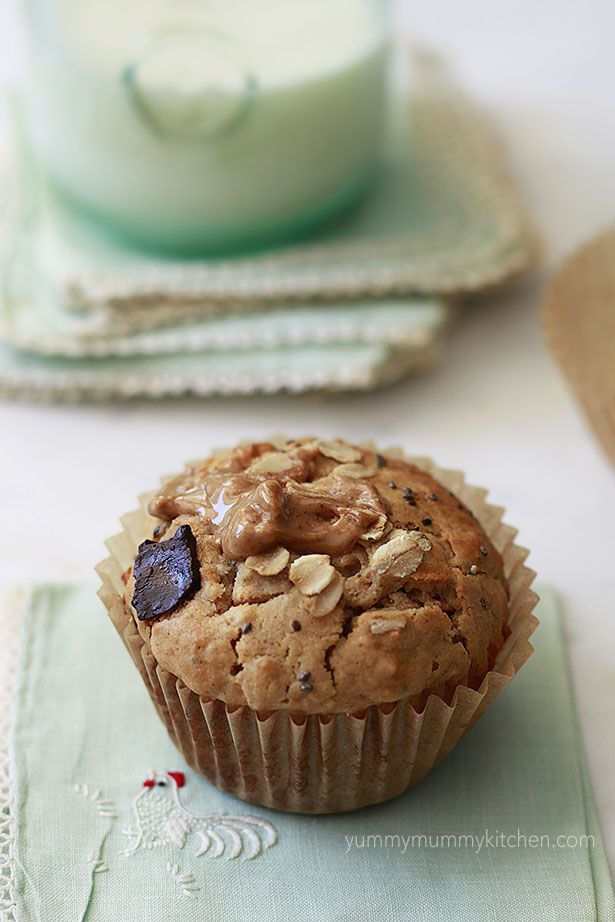 healthy peanut butter oat chia muffins. These have no refined sugar and are easy to make vegan and gluten free!