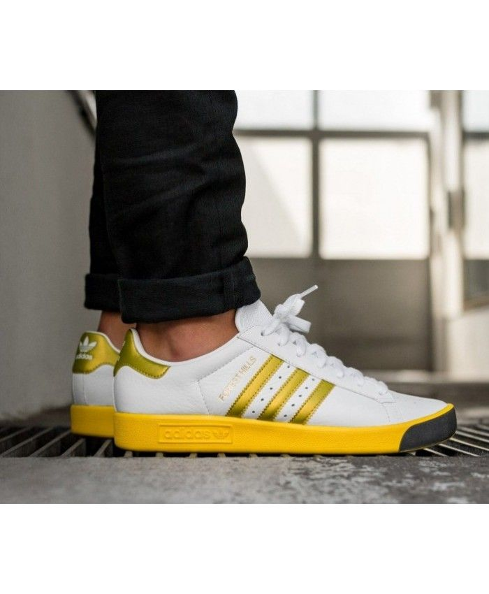 2dac6cf77270 Adidas Forest Hills White Gold Metallic Yellow Shoes