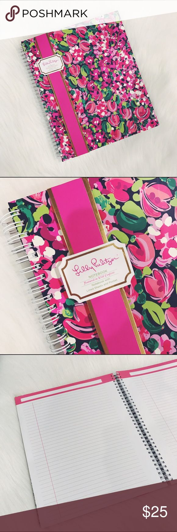 """🎄SALE🎄Lilly Pulitzer Confetti Spiral Notebook Wild Confetti, large Hardcover notebook with spiral and lined sheets, size small/medium, perfect for a purse or backpack. Measurements: 9 1/4""""x 11"""" brand new.  ✅Check my other Kate Spade and Lilly Pulitzer items, great for Christmas Gifts.            🎄10% off bundle of 3 items or more!🎄                             •NO TRADING                             •FINAL PRICE                             •smoke free                             •fast…"""