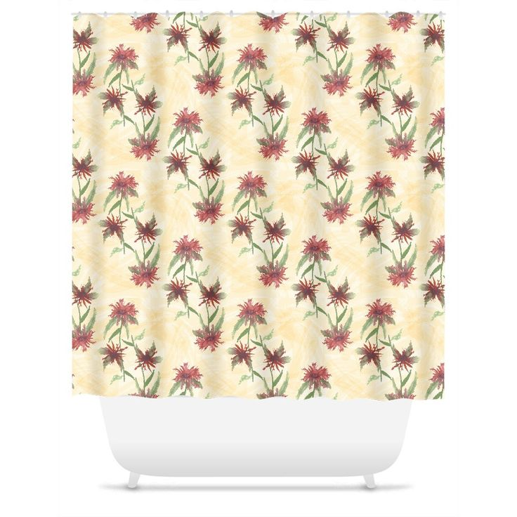 Watercolor Monarda Flowers on Cornsilk Yellow Shower Curtain