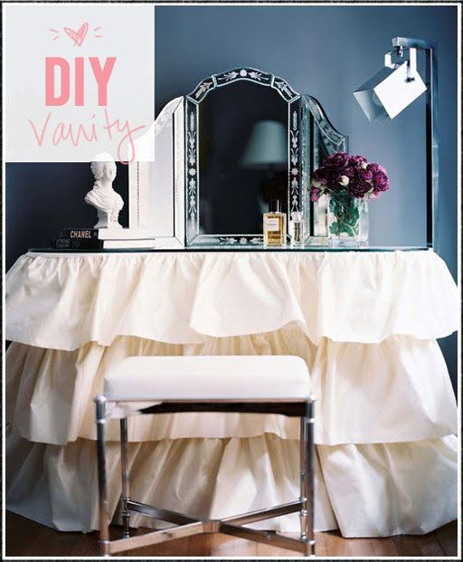 DIY Vanity table skirt- so cool! turn an ordinary desk with mirror
