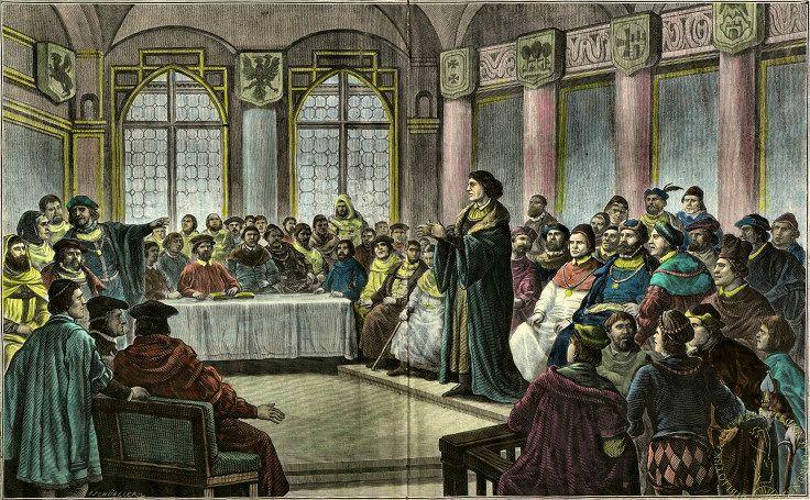 Mikołaj Kopernik wygłaszający Traktat o szacunku monety na sejmie Prus Królewskich - grafika Johana Schubelera