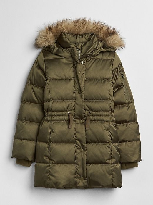 04e227eda1d94 Gap Girls Elongated Puffer Jacket Olive | Products | Jackets, Puffer ...