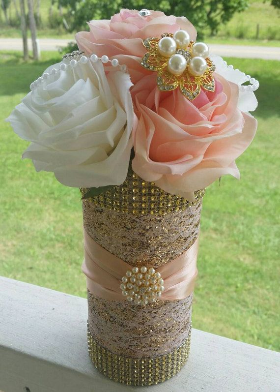 Rose Gold Centerpiece pink and white roses by ConigliosCreations