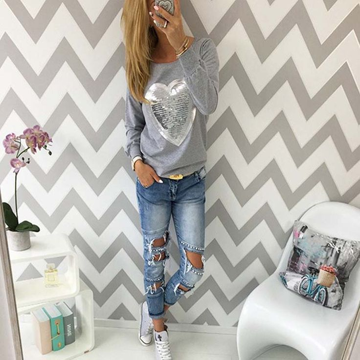 >> Click to Buy << 2017 Hot Sale Love Heart Sequins T-Shirt Neon Color Round Neck Long Sleeve Slim Casual Cute Women Shirt Pullover Female Clothes #Affiliate