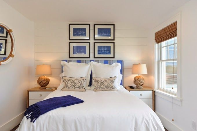 Nantucket bedroom by Nina Liddle Design. More decorating ideas with nautical blue prints at Completely Coastal: http://www.completely-coastal.com/2013/05/ship-blueprints.html